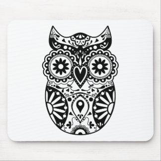 Sugar Skull Owl Black & White Mouse Pad