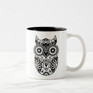 Sugar Skull Owl Black & White Coffee Mug