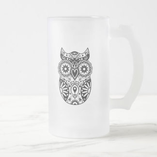 Sugar Skull Owl Black & White 16 Oz Frosted Glass Beer Mug