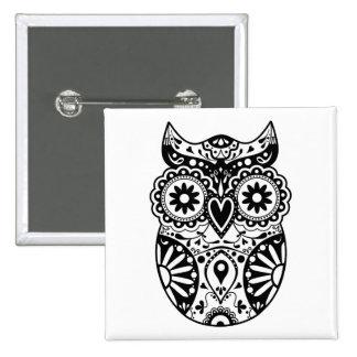 Sugar Skull Owl Black & White Pinback Button