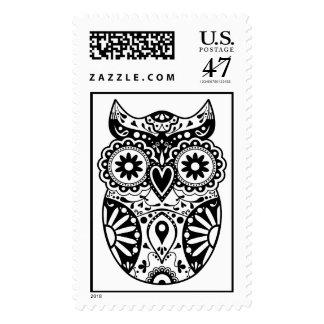 Sugar Skull Owl Black & White Postage Stamp