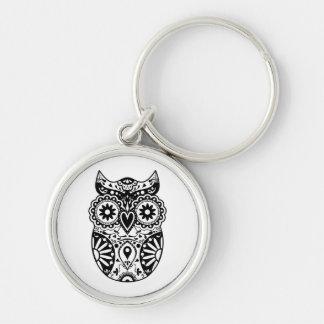 Sugar Skull Owl Black & White Silver-Colored Round Keychain