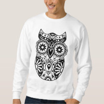 Sugar Skull Owl Black & White Sweatshirt