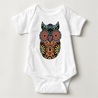 Sugar Skull Owl Color Baby Bodysuit