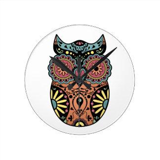Sugar Skull Owl Color Round Wall Clocks