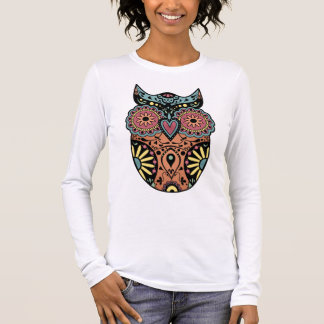 Sugar Skull Owl Color Long Sleeve T-Shirt