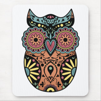 Sugar Skull Owl Color Mouse Pad