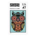Sugar Skull Owl Color Postage