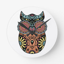 Sugar Skull Owl Color Round Wallclock