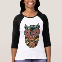 Sugar Skull Owl Color T-Shirt