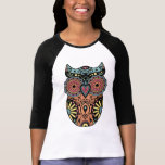 Sugar Skull Owl Color Tshirt
