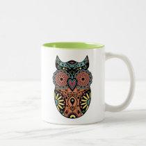 Sugar Skull Owl Color Two-Tone Coffee Mug