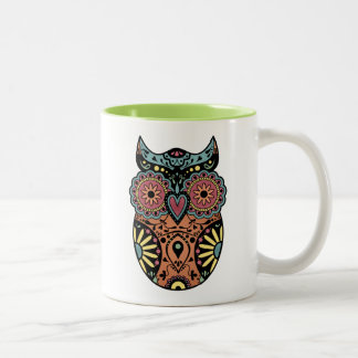 Sugar Skull Owl Color Two-Tone Coffee Mug