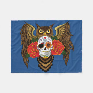 Sugar Skull Owl Fleece Blanket