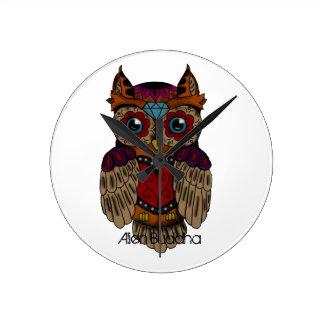 Sugar Skull Owl Hat Round Clock