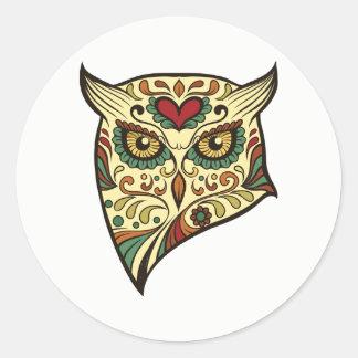 Sugar Skull Owl Head Classic Round Sticker