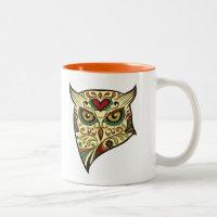 Sugar Skull Owl Head Two-Tone Coffee Mug