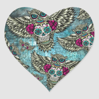 Sugar skull owl pattern in blue pink and yellow. heart sticker