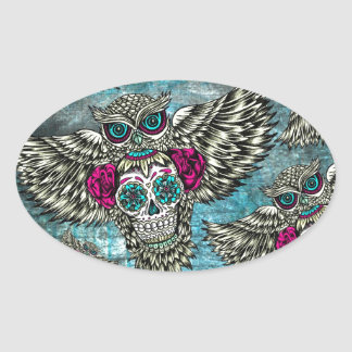 Sugar skull owl pattern in blue pink and yellow. oval sticker