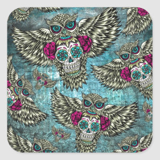 Sugar skull owl pattern in blue pink and yellow. square sticker