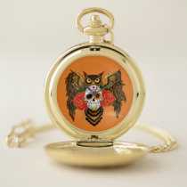 Sugar Skull Owl Pocket Watch