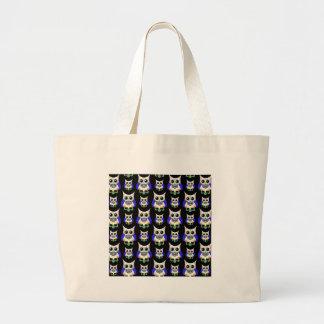 Sugar Skull Owl Print Canvas Bags