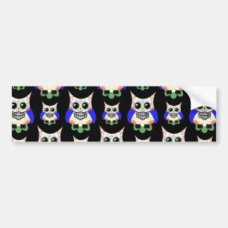 Sugar Skull Owl Print Bumper Stickers