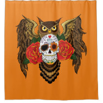 Sugar Skull Owl Shower Curtain