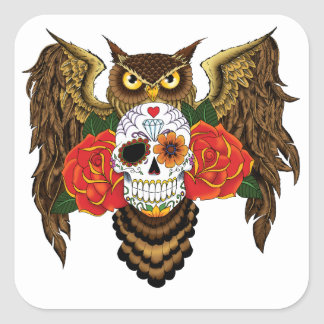 Sugar Skull Owl Square Sticker