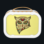 """Sugar Skull Owl - Tattoo Design Lunch Box<br><div class=""""desc"""">Sugar Skull Owl - Tattoo Design  You can personalize the design further if you&#39;d prefer,  such as by adding your name or other text,  or adjusting the image - just click &#39;Customize&#39; to see all the options.</div>"""