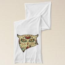 Sugar Skull Owl - Tattoo Design Scarf