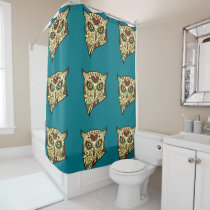 Sugar Skull Owl - Tattoo Design Shower Curtain