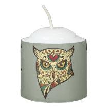 Sugar Skull Owl - Tattoo Design Votive Candle