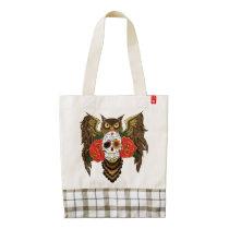 Sugar Skull Owl Zazzle HEART Tote Bag