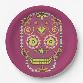 Sugar Skull Paper Plates