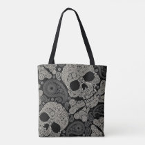 Sugar Skull Pattern All-Over-Print Tote Bag
