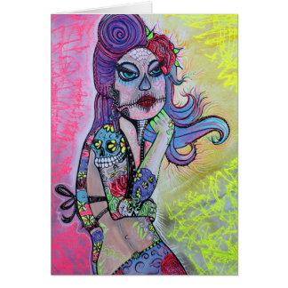 Sugar Skull Pin Up Girl Card
