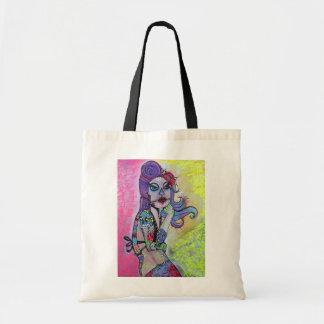 Sugar Skull Pin Up Girl Tote Bag