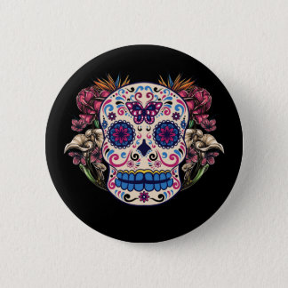 Sugar Skull Pink Roses Multi Colored Flowers Button