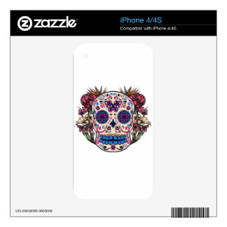 Sugar Skull Pink Roses Multi Colored Flowers Decals For iPhone 4