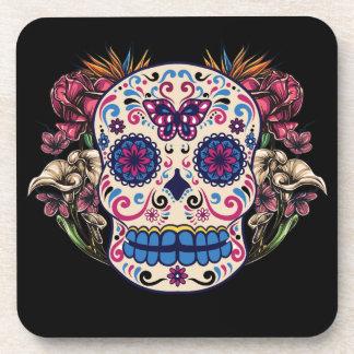 Sugar Skull Pink Roses Multi Colored Flowers Drink Coaster