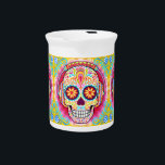 """Sugar Skull Pitcher - Day of the Dead Art Pitcher<br><div class=""""desc"""">This Sugar Skull Pitcher features a colorful psychedelic sugar skull celebrating Mexico&#39;s Day of the Dead,  or Dia de los Muertos. The funky design for this Sugar Skull Pitcher features the original artwork of Thaneeya McArdle.</div>"""