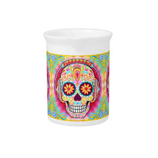 Sugar Skull Pitcher - Day of the Dead Art Pitcher