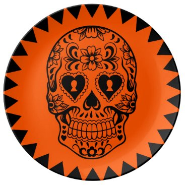 Halloween Themed Sugar skull plate,Day of the Dead Plate