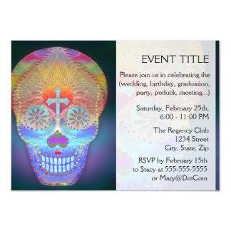 "Sugar Skull, Rainbow Day of the Dead 4.5"" X 6.25"" Invitation Card"