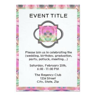 "Sugar Skull Rainbow Heart Tree of Life Day of Dead 5.5"" X 7.5"" Invitation Card"
