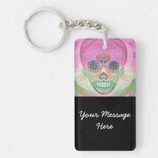 Sugar Skull Rainbow Heart Tree of Life Day of Dead Keychain