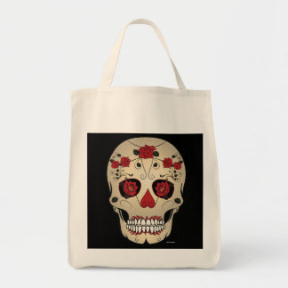 Sugar Skull Red Rose Day of the Dead Tote Bag