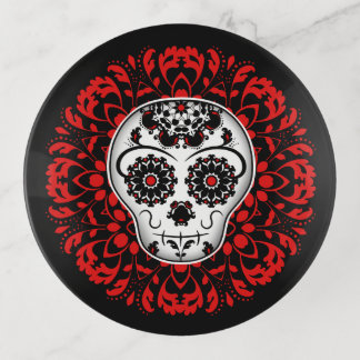 Sugar skull red white and black trinket trays