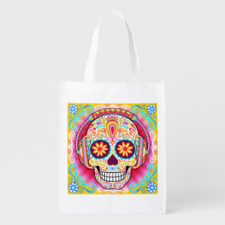 Sugar Skull Reusable Bag - Day of the Dead Bag Grocery Bag